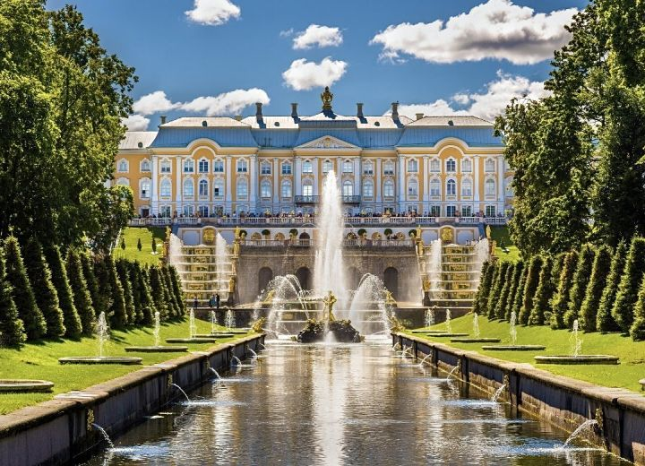 Peterhof with its Grand Palace and breathtaking fountains